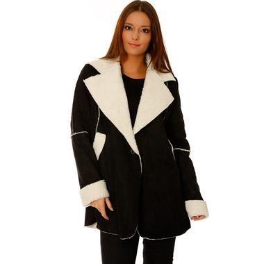 manteau femme mouton retourne noir. Black Bedroom Furniture Sets. Home Design Ideas