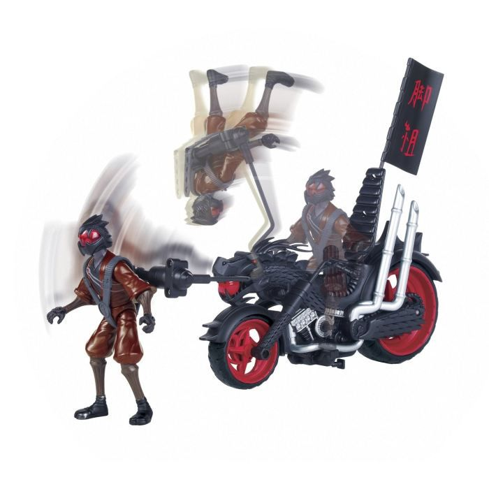 figurine personnage tortues ninja moto de combat avec foot soldier