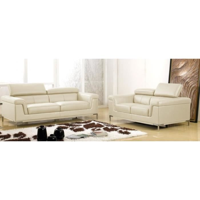 Object moved - Canape cuir beige 3 places ...