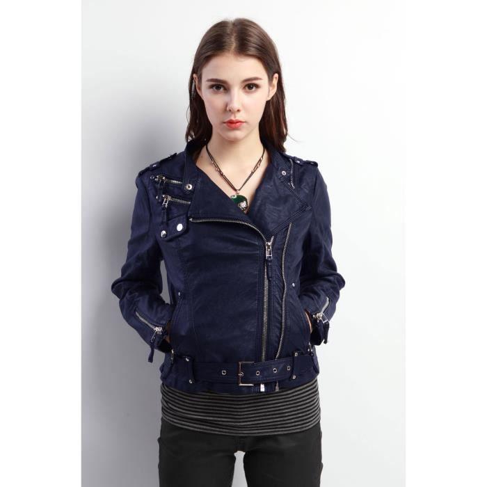 Blouson femme en simili cuir bleu achat vente blouson cdiscount - Simili cuir composition ...