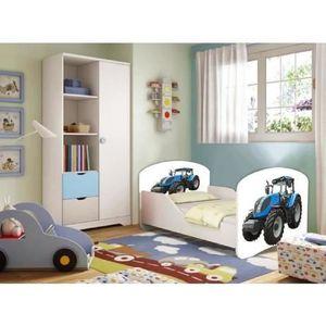 Lit enfant tracteur sommier et matelas 140x70 cm achat for Lit tracteur