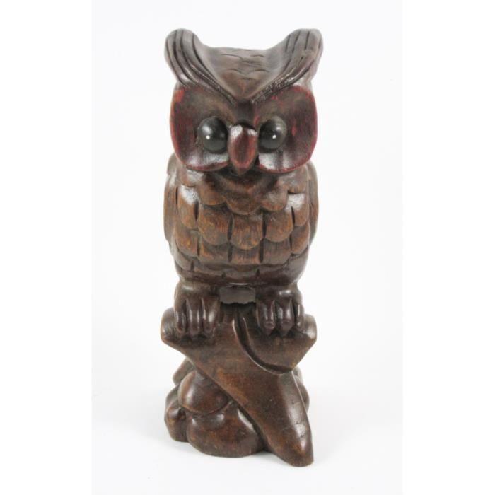 Chouette sur sa branche sculpt en bois de suar 26x9 for Achat branche bois