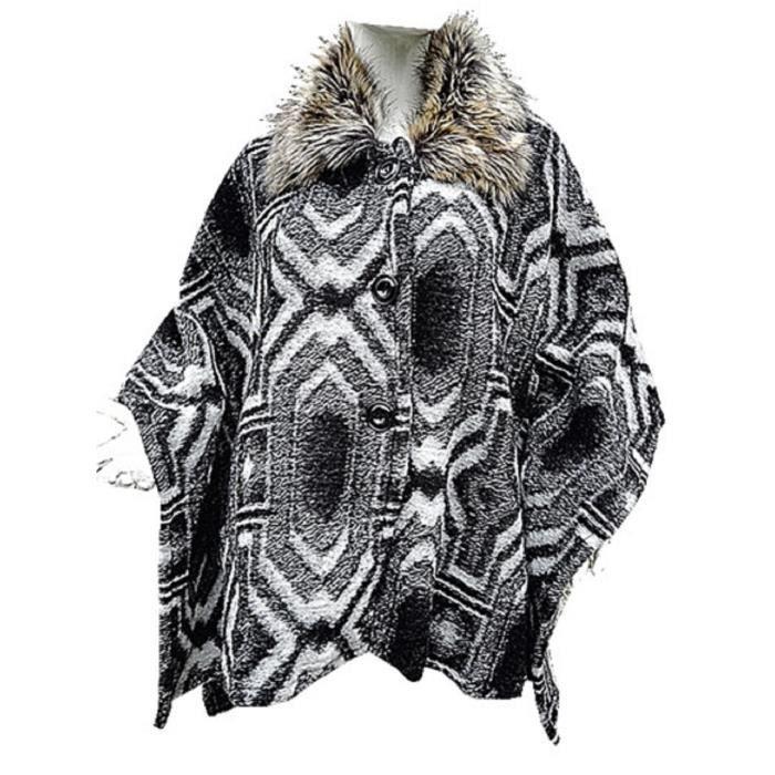 manteau cape mi longue grand taille 46 48 50 52 54 56 58 laine femme fourrure noir noir achat. Black Bedroom Furniture Sets. Home Design Ideas