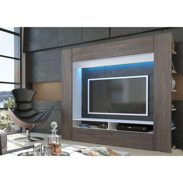 Meuble tv mural blanc et bois weng 185 cm achat vente for Meuble tv mural wenge
