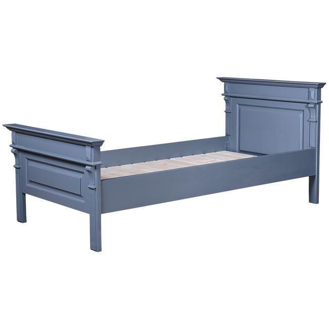 Lit 140x190 cm en pin massif couleur bleu oc achat vente lit complet - Lit en pin massif 140x190 ...