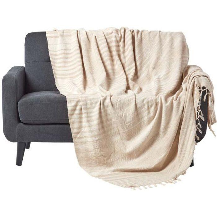 jet de lit ou de canap chenille beige 150 x 200 cm. Black Bedroom Furniture Sets. Home Design Ideas