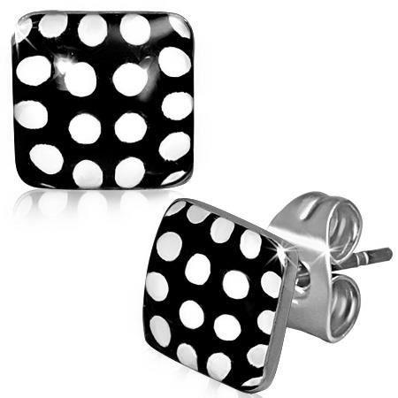 boucles d 39 oreilles carre a fond noir avec point blanc noir et blanc achat vente boucle d. Black Bedroom Furniture Sets. Home Design Ideas