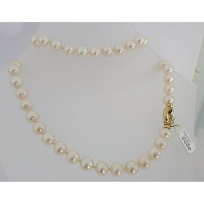 Collier perles de culture fermoir or 18 cts achat vente sautoir et collier collier perles de - Comment faire un collier en perle ...