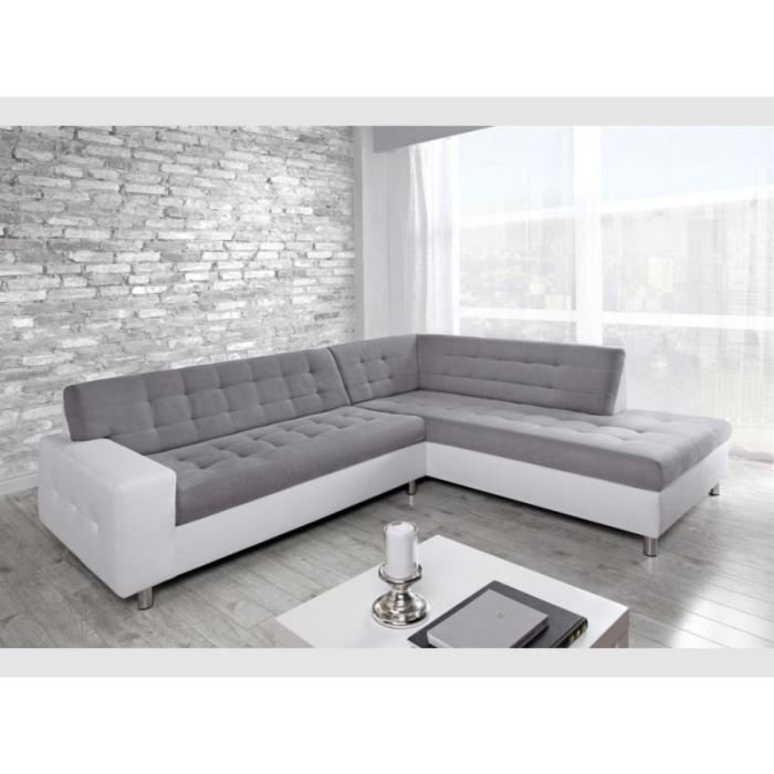 Grand canap d 39 angle droit gris blanc achat vente canap sofa div - Canape d angle large assise ...
