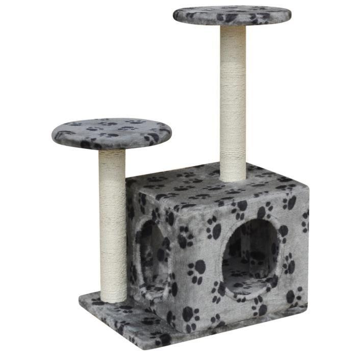 grand arbre chat gris imprim 39 pattes de chat 39 60 cm achat vente arbre chat grand arbre. Black Bedroom Furniture Sets. Home Design Ideas