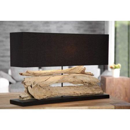 Lampe bois flott naturel noir novea achat vente lampe for Lampe de chevet bois flotte
