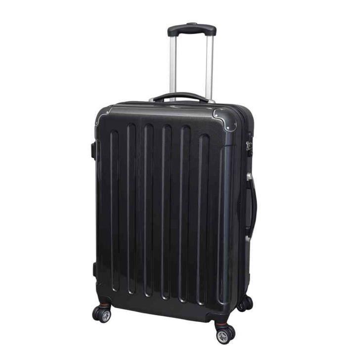 valise trolley moyen en abs noir aspect carbon noir achat vente valise bagage. Black Bedroom Furniture Sets. Home Design Ideas