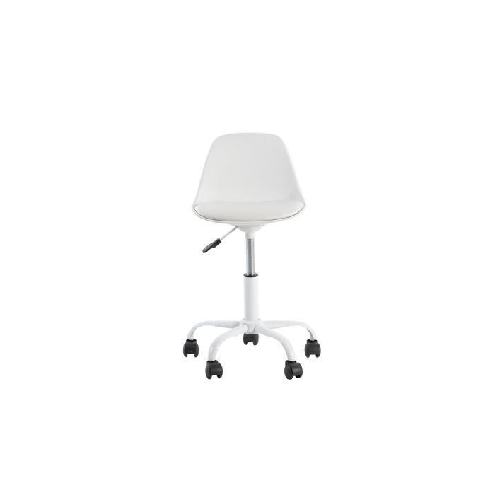chaise de bureau en pu blanc coque en polyprolyl ne. Black Bedroom Furniture Sets. Home Design Ideas