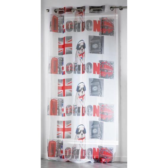 Voilage 140 x h240 cm london boy achat vente voilage for Decoration fenetre de chambre