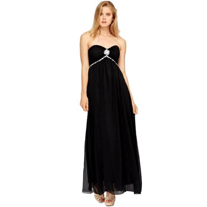 robe de soir e bustier longue orn e de strasses noir achat vente robe de c r monie cdiscount. Black Bedroom Furniture Sets. Home Design Ideas