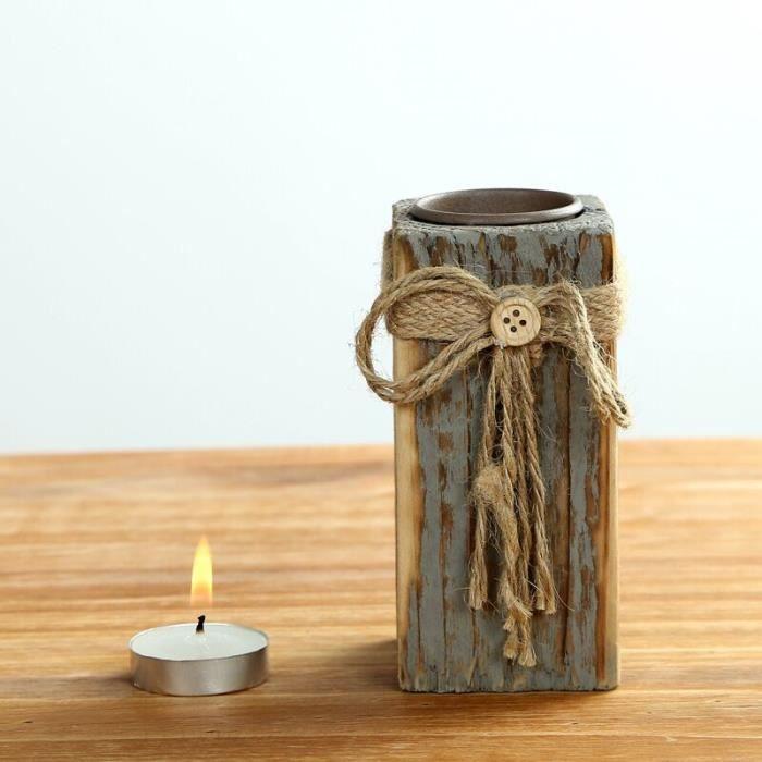 D coration chandelier bougeoir en bois r tro petit objet for Petit objet deco