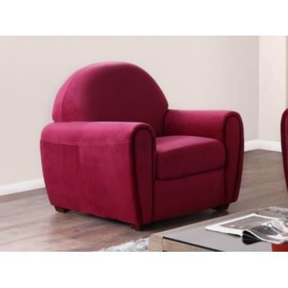 Fauteuil club victory ii velours rouge bordeaux achat vente fauteuil ro - Fauteuil club velours ...