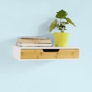 Tag re murale avec tiroir en bois et bambou armoire cl s porte cl s meub - Etagere murale avec porte ...