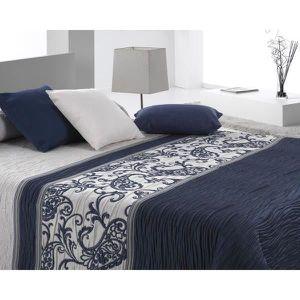 couvre lit bleu et blanc achat vente couvre lit bleu et blanc pas cher soldes cdiscount. Black Bedroom Furniture Sets. Home Design Ideas