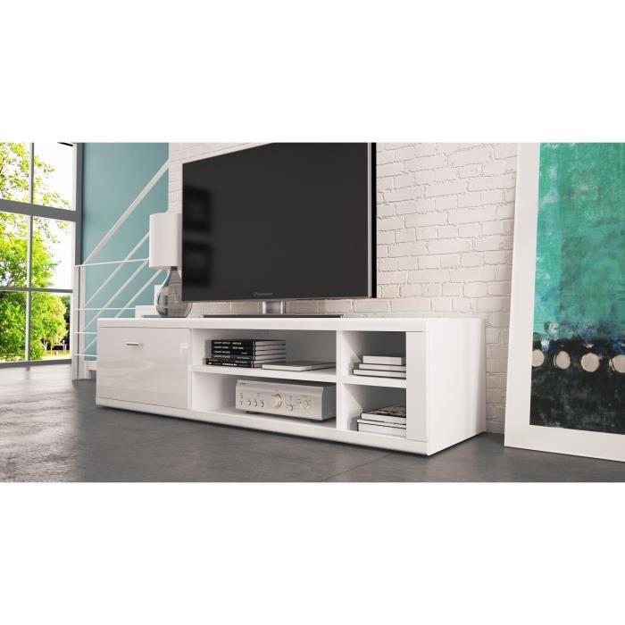 meuble tv ivo blanc mat achat vente meuble tv meuble tv ivo blanc mat cdiscount. Black Bedroom Furniture Sets. Home Design Ideas