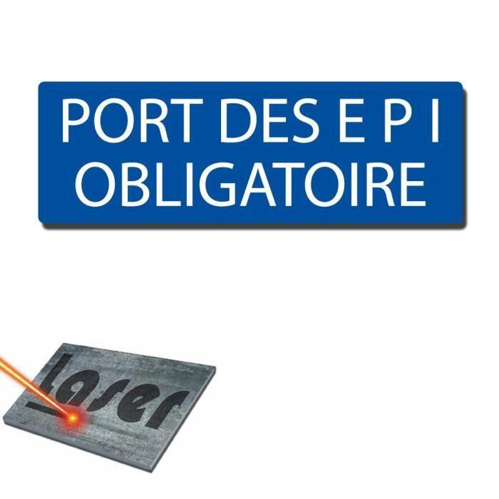 plaque grav 233 e autocollante 30x10cm quot port des epi obligatoire quot fond bleu achat vente plaque