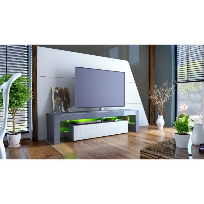 Meuble tv 151 cm gris et blanc achat vente meuble tv - Meuble tele gris et blanc ...
