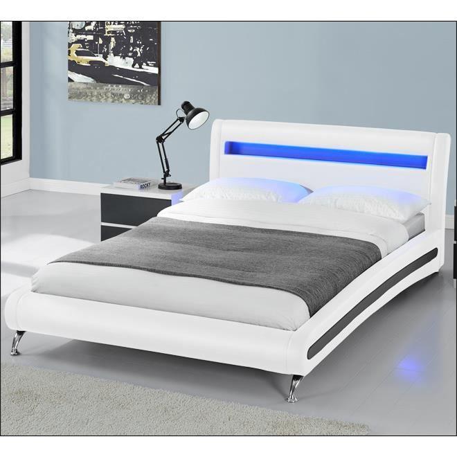 lit similicuir blanc et noir avec led 140x200 cm achat vente lit complet lit similicuir. Black Bedroom Furniture Sets. Home Design Ideas