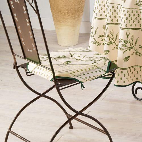 Galette de chaise cigale olive vert 36x36 achat vente for Galette de chaise 4 rabats