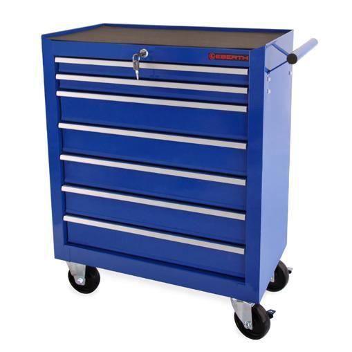 eberth chariot d 39 atelier outils servante caisse 7 tiroirs roulettes bleu achat vente bac. Black Bedroom Furniture Sets. Home Design Ideas