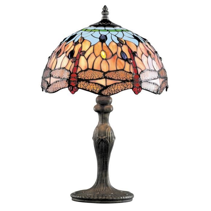 Lampe poser dragonfly antique verre tiffany achat for Lampes de salon a poser
