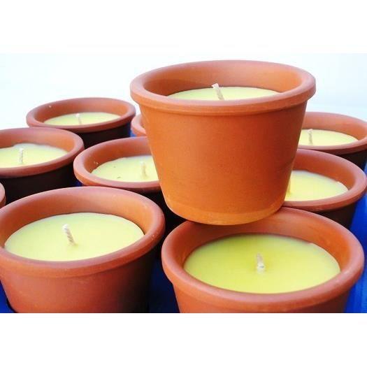 lot de 6 bougies citronnelle 12h anti moustiques pot en terre cuite achat vente diffuseur de. Black Bedroom Furniture Sets. Home Design Ideas