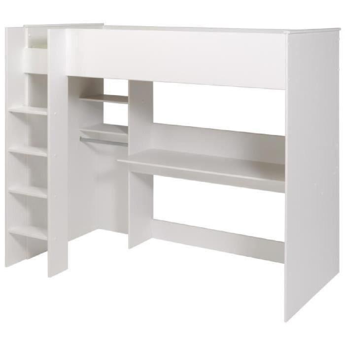 dave lit sur lev 90cm avec rangement blanc achat. Black Bedroom Furniture Sets. Home Design Ideas