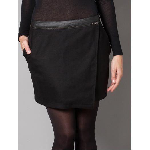 Jupe portefeuille en laine 'Jaie' Noir Achat / Vente jupe kilt