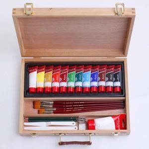 Mallette d'artiste en bois 26 pièces