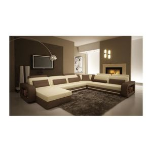 canap d 39 angle cuir new york beige et marron angl achat. Black Bedroom Furniture Sets. Home Design Ideas