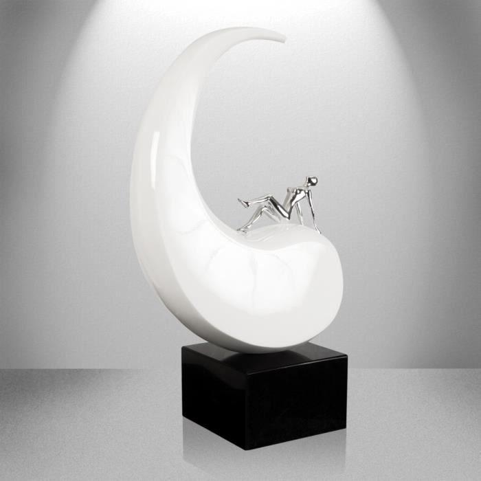 r ve de paix sculpture moderne en r sine laqu e avec base en marbre achat vente statue. Black Bedroom Furniture Sets. Home Design Ideas