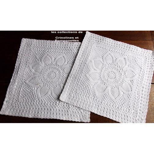 Crochet fait main housses lot de 2 blanches achat - Housse de coussin 70x70 ...