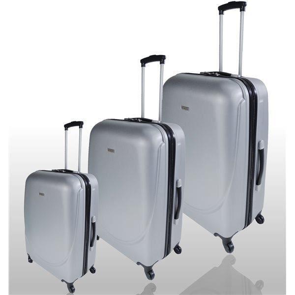 set de 3 valises legeres et robustes trolley coque rigide abs 4 roues argent achat vente. Black Bedroom Furniture Sets. Home Design Ideas
