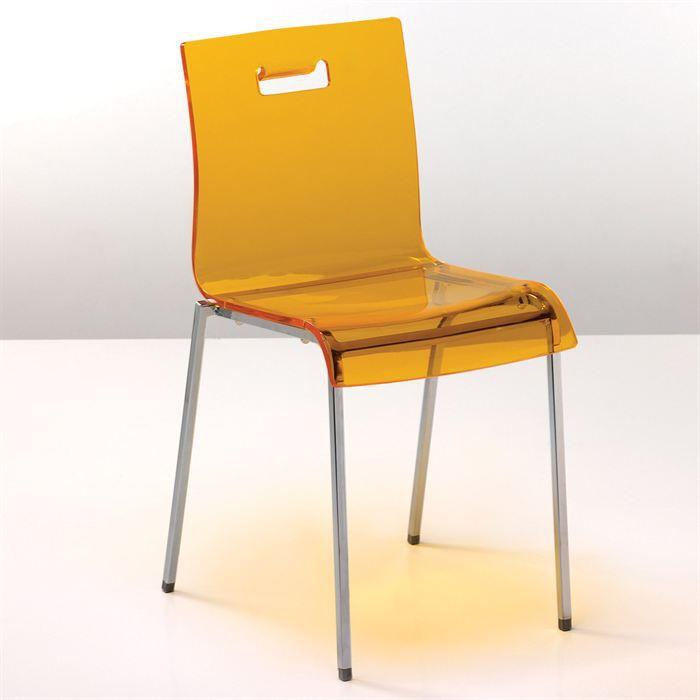 Chaise light en acier orange transparent achat vente chaise mati re de la structure m tal for Chaise en acier poitiers