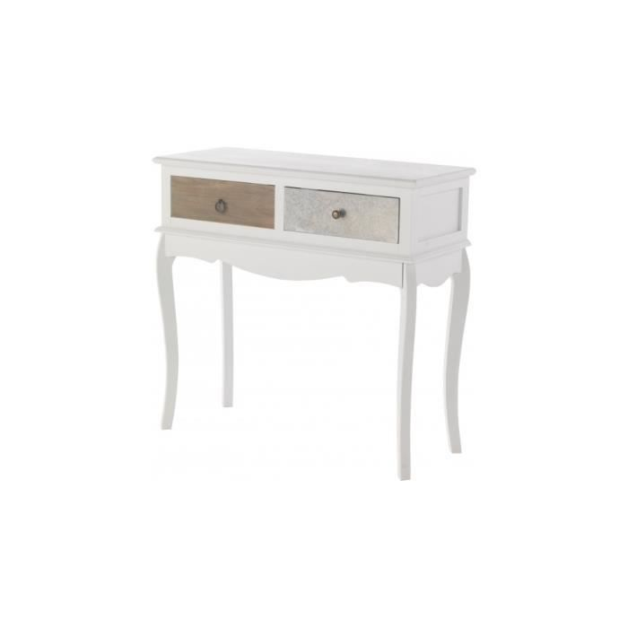 console sapin laqu blanc 2 tiroirs assortis achat. Black Bedroom Furniture Sets. Home Design Ideas