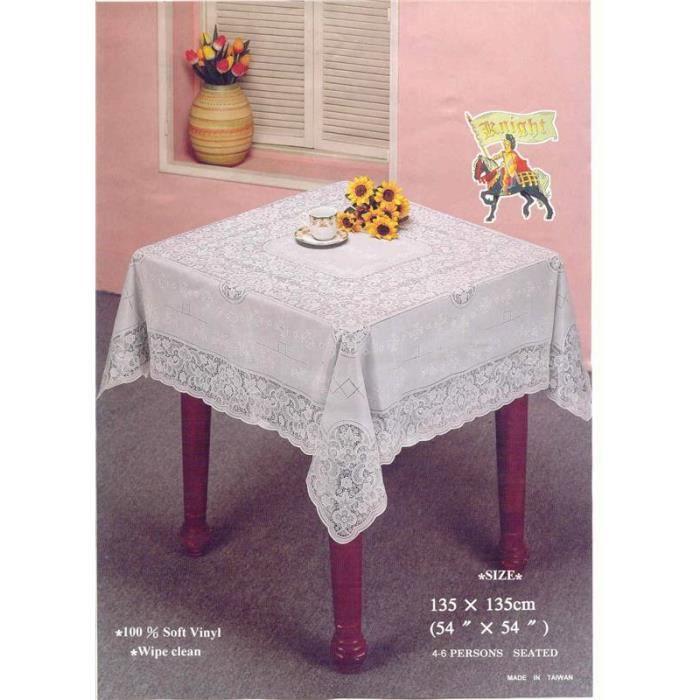 54 tissu de table carr en dentelle blanc vinyle achat for Nappe de table carre