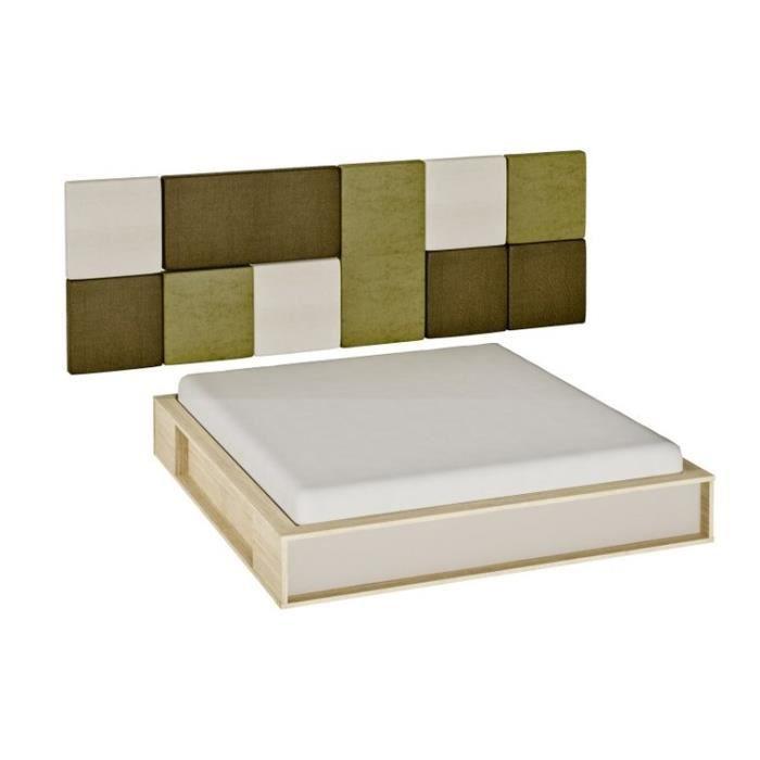 pack lit 2 personnes avec sommier a lattes 3d 140x200 sans chevet achat vente chambre. Black Bedroom Furniture Sets. Home Design Ideas