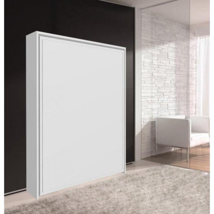 armoire lit escamotable cronos blanc mat couc achat vente lit escamotable cdiscount. Black Bedroom Furniture Sets. Home Design Ideas