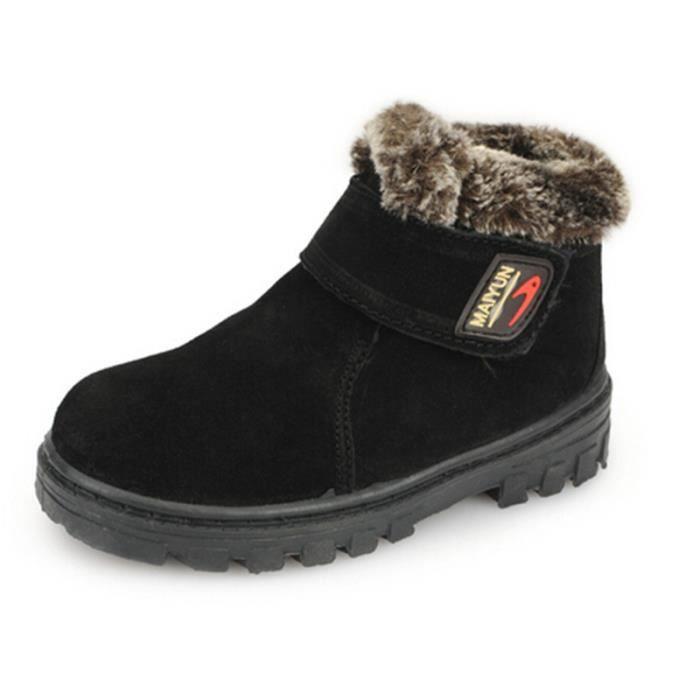 mixte enfants bottines hiver chaussures chaudes nubuck noir noir tu achat vente bottillon. Black Bedroom Furniture Sets. Home Design Ideas