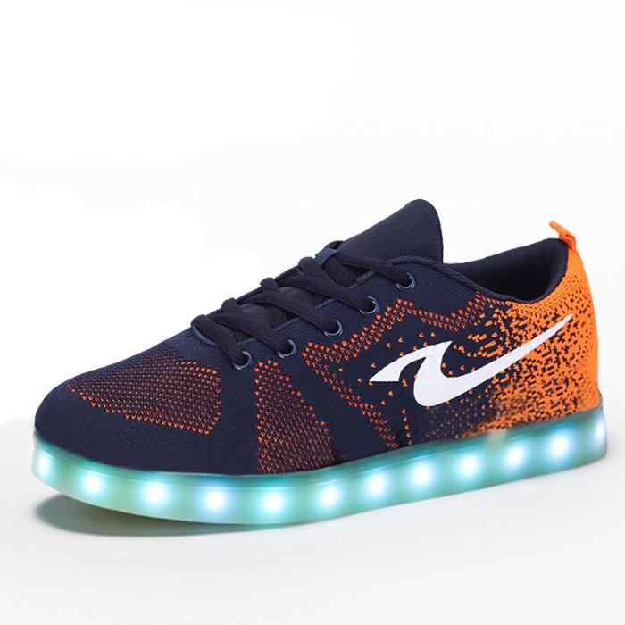 basket lumineuse orange usb charge chaussure led homme femme multicolore led lumi re lumineux. Black Bedroom Furniture Sets. Home Design Ideas