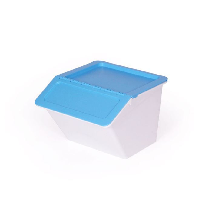 Bo te de rangement bicolor bleu blanc achat vente - Boite de rangement ikea plastique ...