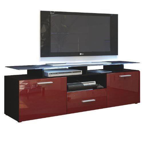 Meuble tv noir mat et bordeaux laqu avec led 146 cm achat vente meuble t - Depot vente meuble bordeaux ...