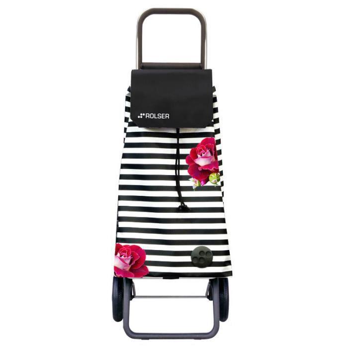 poussette de march 2 roues avec sac en tissu rayures et motif rose 59l noir et blanc rosa. Black Bedroom Furniture Sets. Home Design Ideas