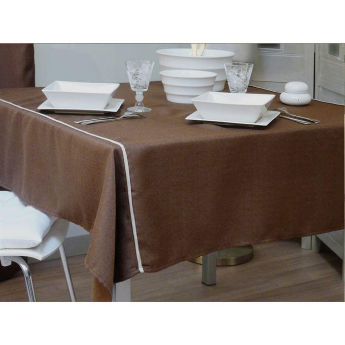 nappe carr e namur chocolat achat vente nappe de table cdiscount. Black Bedroom Furniture Sets. Home Design Ideas