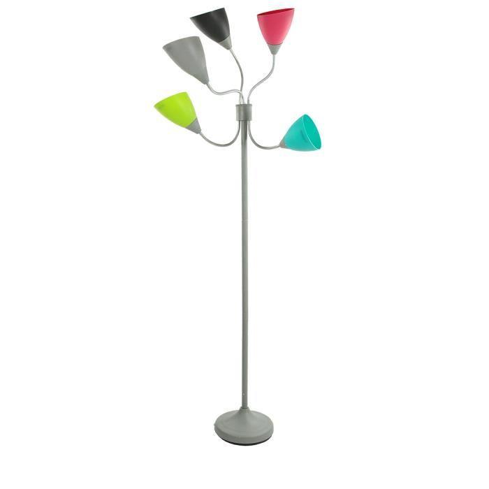 Lampadaire 5 t tes color es achat vente lampadaire 5 for Lampadaire exterieur 2 tetes